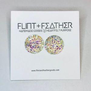 Flint+Feather Clear Round Druzy Stud Earrings NWT